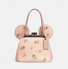 Disney X Coach F29351 Kisslock Bag W/ Floral Mix Pink Print & Minnie Mouse Ears