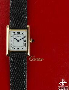1980's Cartier Tank Louis Cartier Mechanical 18K Gold Leather Women's Watch