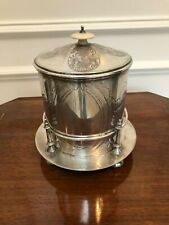 ANTIQUE VINTAGE ENGRAVED SILVER TOBACCO TEA FOOTED BISCUIT BARREL ON STAND
