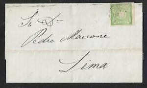 PERU UN DINERO GREEN ON  COVER 1865