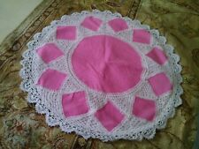 """LINEN LACE ROUND CUSHION COVER 24"""" WHITE and PINK COLORED HANDMADE"""