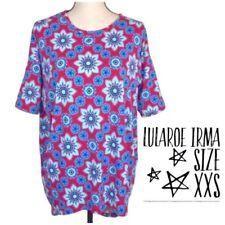 Lularoe XXS Irma Hot Pink Blue Floral Geometric Print Drop Shoulder Hi-Low Hem