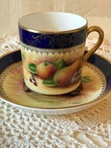 Vintage Demitasse Cup & Saucer Hand Painted Fruit J Mottram English Bone China