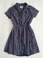 Monteau Size S Ditsy Floral Navy Summer Tea Dress Land Girl Vintage Retro Style