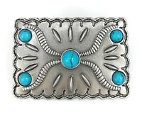 Vintage Silver Alloy Square Turquoise Floral Womens Western Belt Buckle GIFT BOX