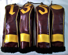 Vintage Golf Headcover Set 4 Brown Leatherette Gold Trim & Numbers Plush Lined