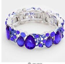 Royal Blue Silver Stretch Stretchable Cuff Crystal Rhinestone Wedding Bracelet