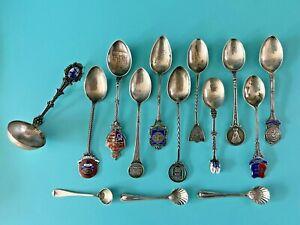 Lot of 14 Silver World European Souvenir Spoons - Hallmarks only - 166.40 grams