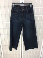Express Jeans Size 4 Wide Leg Cropped Capri Denim Stretch Dark Wash NWOT (J1)