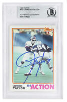 Lawerance Taylor Signed Giants 1982 Topps In Action Rookie Card #435 - Beckett