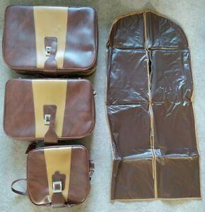 Set of 3 Vintage Brown Leather Suitcases Graduating Made in Korea KKK Travel Bag