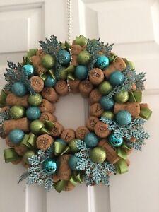 "Hand Made Christmas Hanging  Champagne Cork Wreath  13"" Diameter"