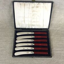 Art Deco Rojo Baquelita/Resina manejado mantequilla esparcidores cuchillos de Té Juego de 6