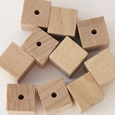 16mm Square Cube Wood Beads Unfinished Hardwood Raw Large Hole. US made pk/10