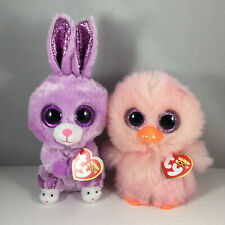 """2021 Easter TY Beanie Boos SET of 2 FUZZY Rabbit & FEATHERS Chick (6"""" Reg) MWMTs"""