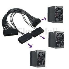 3 PORT 20+4PIN PSU Power Supply ATX 24 Pin Motherboard Adapter Connector Cable