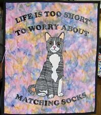 "New Beautiful Matching Socks Cat Appliqued Wall Hanging 18 1/2 X 22"" Quilt"