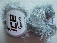 Eyelash yarn by Ice Yarns, Light Grey, lot of 2, (81 yds each)