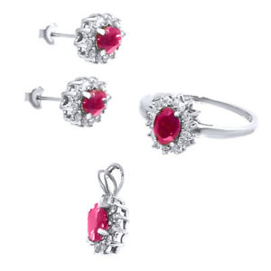 4.56ct Ruby & Diamond Necklace, Earrings, Ring Set in 14K White Gold
