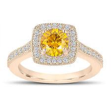 1.29 Carat Enhanced Canary Yellow Diamond Engagement Ring 14K Yellow Gold