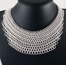 Stunning Silver Chainmail Colar Bib Statement Necklace
