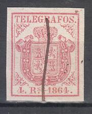 España Telégrafos 1864 Edifil 2 o  Mtº a pluma