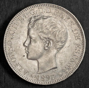 1897, Philippines, Alfonso XIII of Spain. Large Silver Peso Coin. 1-Year Type!