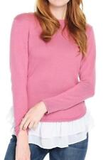 NEW - Kate & Mallory® Knit & Chiffon Bracelet Sleeve Double Ruffle Sweater - M