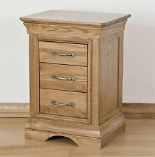 French solid oak furniture three drawer bedroom bedside cabinet stand unit