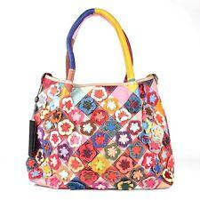 Leder Schulter Umhänge Tasche Shopper Patchwork Blumen Bunt Vintage Boho Ital