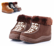 Brown Side Zip Faux Fur Top Boys Toddlers Kids Girls Winter Boots Shoes Size 6