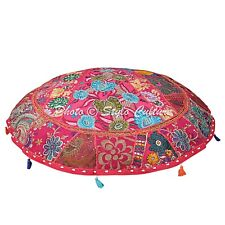 """Indian Vintage Round Patchwork Floor Cushion Cover Couch Embroidered Cotton 40"""""""