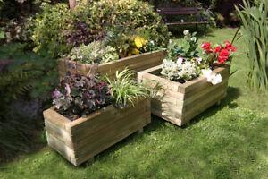 Zest 4 Leisure Set of 3 Gresford Wooden Rectangular Garden Planters 00402