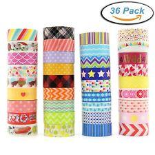 Washi Masking Tape Set of 36 Rolls, Decorative Masking Tape Collection, Colorful