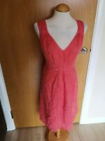 Ladies KOOKAI Dress Size 14 Coral Pink Cheesecloth Linen Smart Casual Day