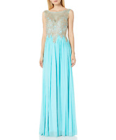 JVN by Jovani Women's Chiffon Sheer Neckline Prom Evening Gown Dress Size 8