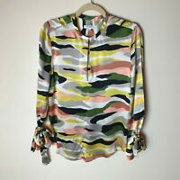 Equipment Women's Blouse Size Small Top Tie Sleeves Multicolor Casual Work