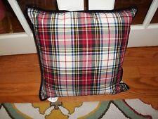 Nwt Ralph Lauren Plaid Red/Black/Cream Velvet Trim Down Filled Decorative Pillow
