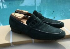 GUCCI DARK GREEN SUEDE CUTOUT LOGO STRAP DETAIL LOAFERS Sz 8.5D MADE IN ITALY