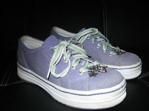 Keds Purple w/ green glitter sneakers with charms. Girls Sz 3.5. So Cute!!