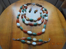 Handmade Agate Necklace and Bracelet Set (white,amber,green) with free earrings