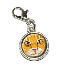 Orange Tabby Cat Face - Pet Kitty - Antiqued Bracelet Charm with Lobster Clasp