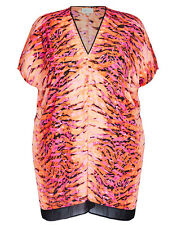 Plus Size Long Ladies  V- Neck Animal Print Tunic-Black/ Orange & Pink Size 20