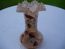 Vintage Bohemian Pink Crystal Flower Vase with Hand-painted Flowers/Butterfly