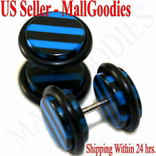 1275 Fake Cheater Illusion Faux Ear Plugs Black & Blue Stripes Parttern 00G 10mm