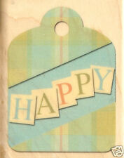 HAPPY TAG Wood Mounted Rubber Stamp INKADINKADO 94332 New