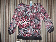 ladies womens long sleeved top blouse size 10 M&S woman red & black brand new