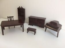 Vintage Suite of Early Brown Plastic Dolls House Furniture
