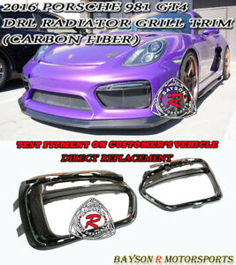 OE-Style Front Radiator DRL Side Grille Trims (Carbon) Fit 2016 Porsche 981 GT4