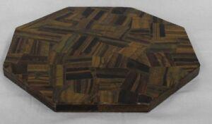 "12""  Corner Table Top Tiger Eye Stone Inlay Work Home Decor"